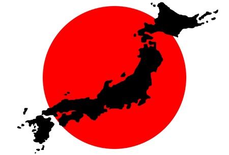 bandera japon: Mapa de Jap�n con la bandera en el fondo
