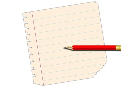 plucking: Notebook paper with pencil