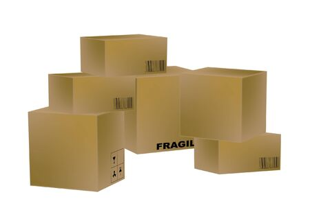 packing boxes: Group transport boxes on white background