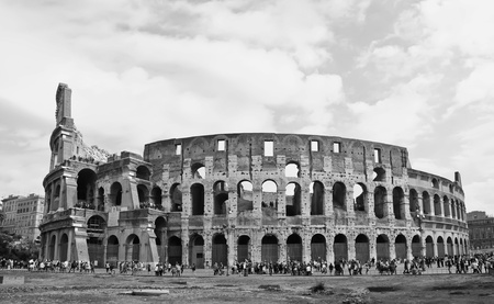 Black & white photograph of the Colosseum in Rome photo