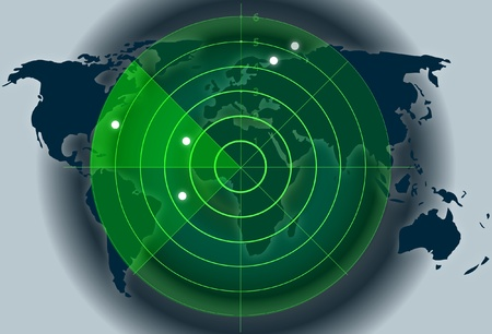 World map background with green radar