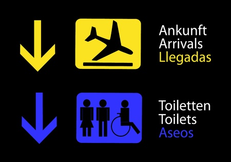 toilet information panel and arrivals at the airport