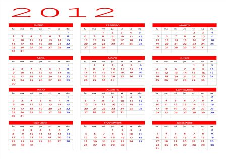 Calendar 2012 in Spanish  Stock Vector - 11773722