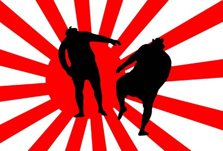 Fighters fight under the flag of Japan on the bottom Vector