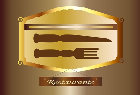 Decorative Plate Restaurant in gold and brown Vector