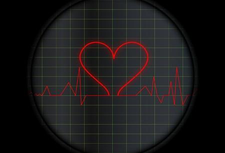 Electrocardiogram with a heart symbol  Ilustração