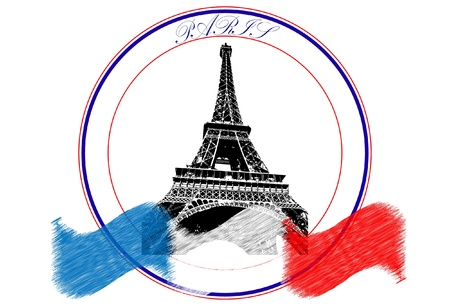 Paris logo with the flag of France Vector