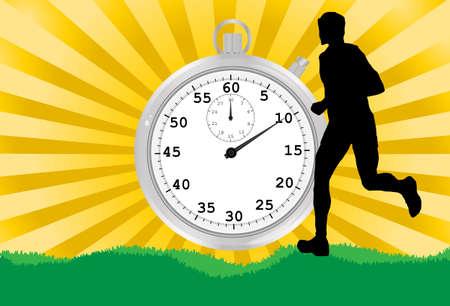 Silueta de un corredor con un cronómetro