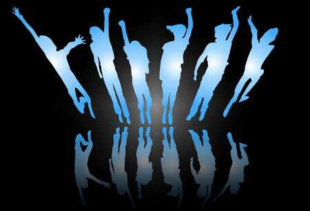 Silhouette of kids jumping Vector