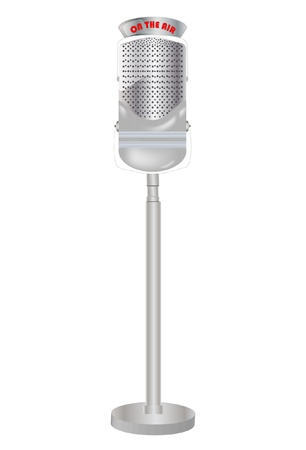 metalized: Old microphone isolated on white background
