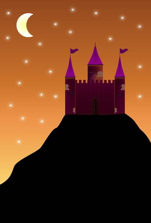 Castle at the top of the mountain  Stock Vector - 11889230