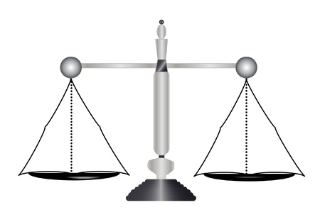 antique weight scale: Justice, balance balanced  Illustration