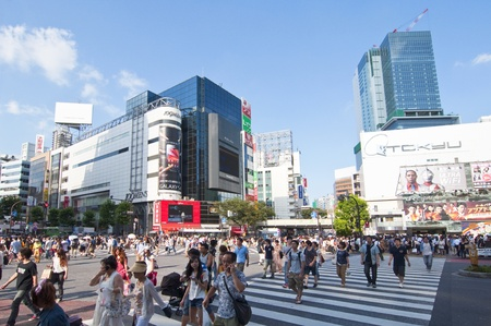 TOKYO, JAPAN - JULY 9: Shibuya crossing is one of the most famed examples of a scramble crosswalk in the world on July 9, 2011 in Tokyo, Japan. Editorial