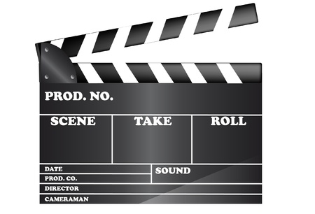 negativity: Movie clapper board isolated on white background