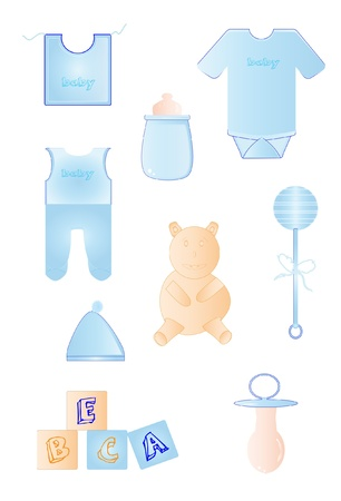 Objects baby blue  Illustration