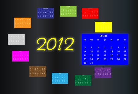 2012 Calendar of colors Vector