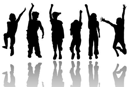 ni�os bailando: Los ni�os con silueta de la reflexi�n Vectores