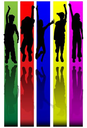 Children with reflection silhouette Vector