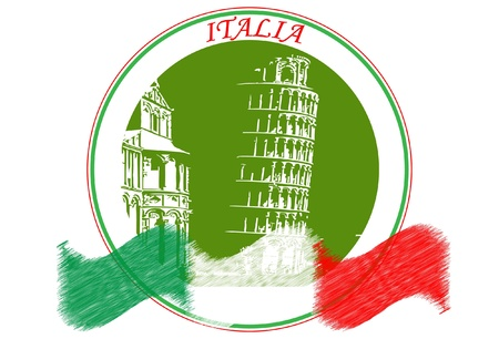 pisa tower: Italy logo