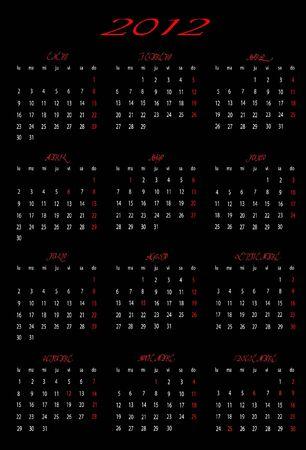 2012 calendar in Spanish Stock Vector - 12000899