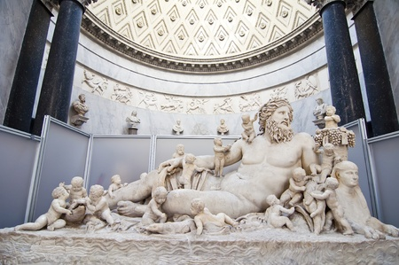 museums: A Roman sculpture lying in the Vatican Museums in Rome Stock Photo