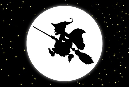 Fund with the moon and a witch with broom  Vector