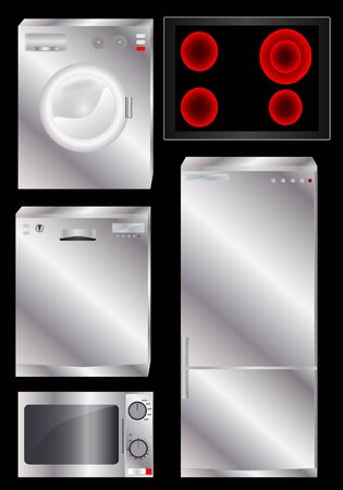 Appliances black background Vector