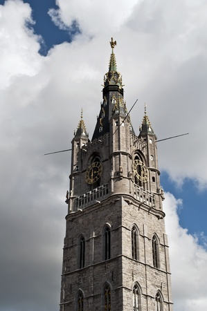 tower of the cathedral city of Ghent photo
