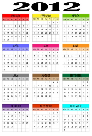 week end: 2012 calendar Vectores