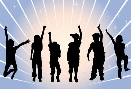 enfants noirs: Silhouette d'enfants sautant sur fond abstrait