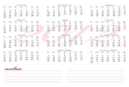 Calendar 2012 with notes section for Spanish Stock Vector - 12136911