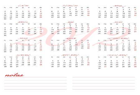 week end: Calendario 2012 con secci�n de notas para el espa�ol Vectores