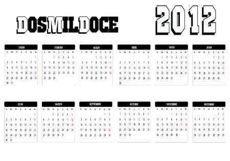Calendar 2012 Stock Vector - 12136906