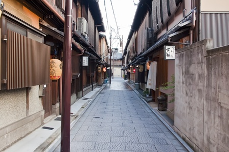 declared: KYOTO, JAPAN-JULY 16: One of the famous streets of the Gion district July 16, 2011 in Kyoto, Japan.  Part of the Gion district has been declared a cultural heritage of Japan. Editorial