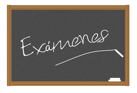 steadiness: word exams in Spanish writing on a blackboard