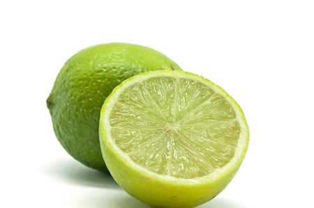 Halved lime on white background photo