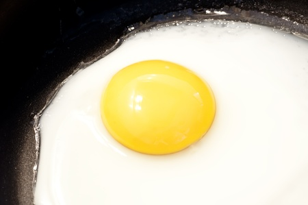 Fried egg closeup  in the pan photo
