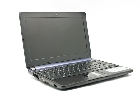 Open laptop on white background photo