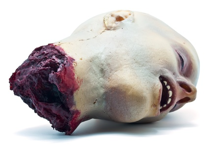 cut and blood: Recreation a severed human head on a white background
