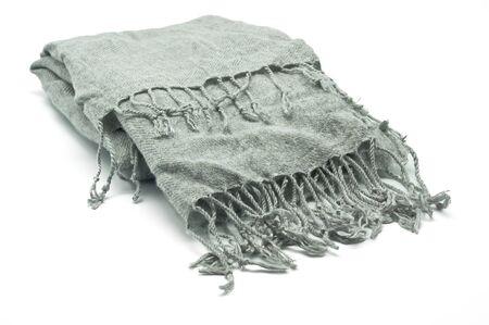 fringes: Gray scarf with fringes on white background Stock Photo