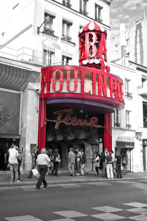 PARIS, FRANCE-10 SEPTEMBER: main facade of the famous Parisian cabaret Moulin Rouge on September 10, 2010 in Paris, France
