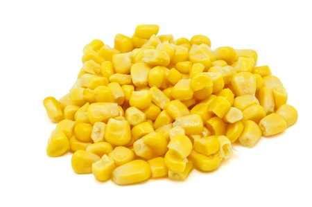 Corn pile on white background Stock Photo