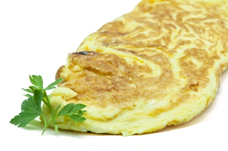 Omelette egg and cheese on white background photo