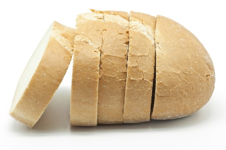 Loaf of bread on white background photo