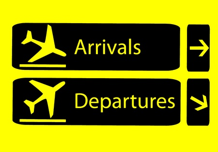 Signs of arrivals and departures at the airport