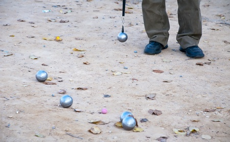 bocce balls and player Stock Photo - 12646735