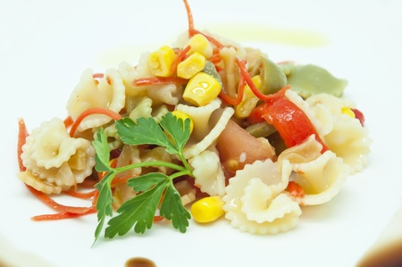 seasoned: Pasta salad with seasoned vegetables Stock Photo
