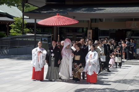 TOKYO, JAPAN, JULY 10: Celebration of a typical wedding in Japan on July 10, 2011 in Tokyo, Japan.   The date that most weddings are held in November is the month because the 11 is a lucky number. The wedding is rapid, flow, protocol and little joy
