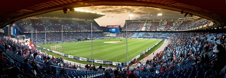 MADRID, SPAIN-MARCH 29: Vicente Calderon soccer stadium during a soccer game Atl�tico Madrid vs. Hannover on March 29, 2012 in Madrid, Spain. Atl�tico Madrid won 2-1. The party is for the Europa League
