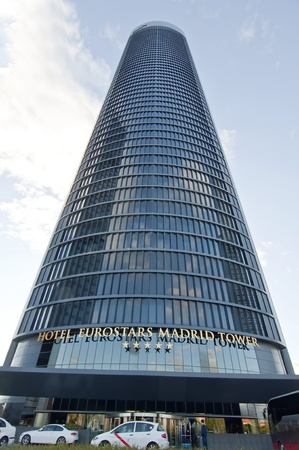 vallehermoso: MADRID, SPAIN - APRIL 7: Eurostars Madrid Tower Hotel on April 7, 2012 in Madrid, Spain.   The business park consists of four skyscrapers that are the Torre Caja Madrid, Sacyr Vallehermoso Tower - Torre PwC, the Crystal Tower and the Tower Space. Were ina